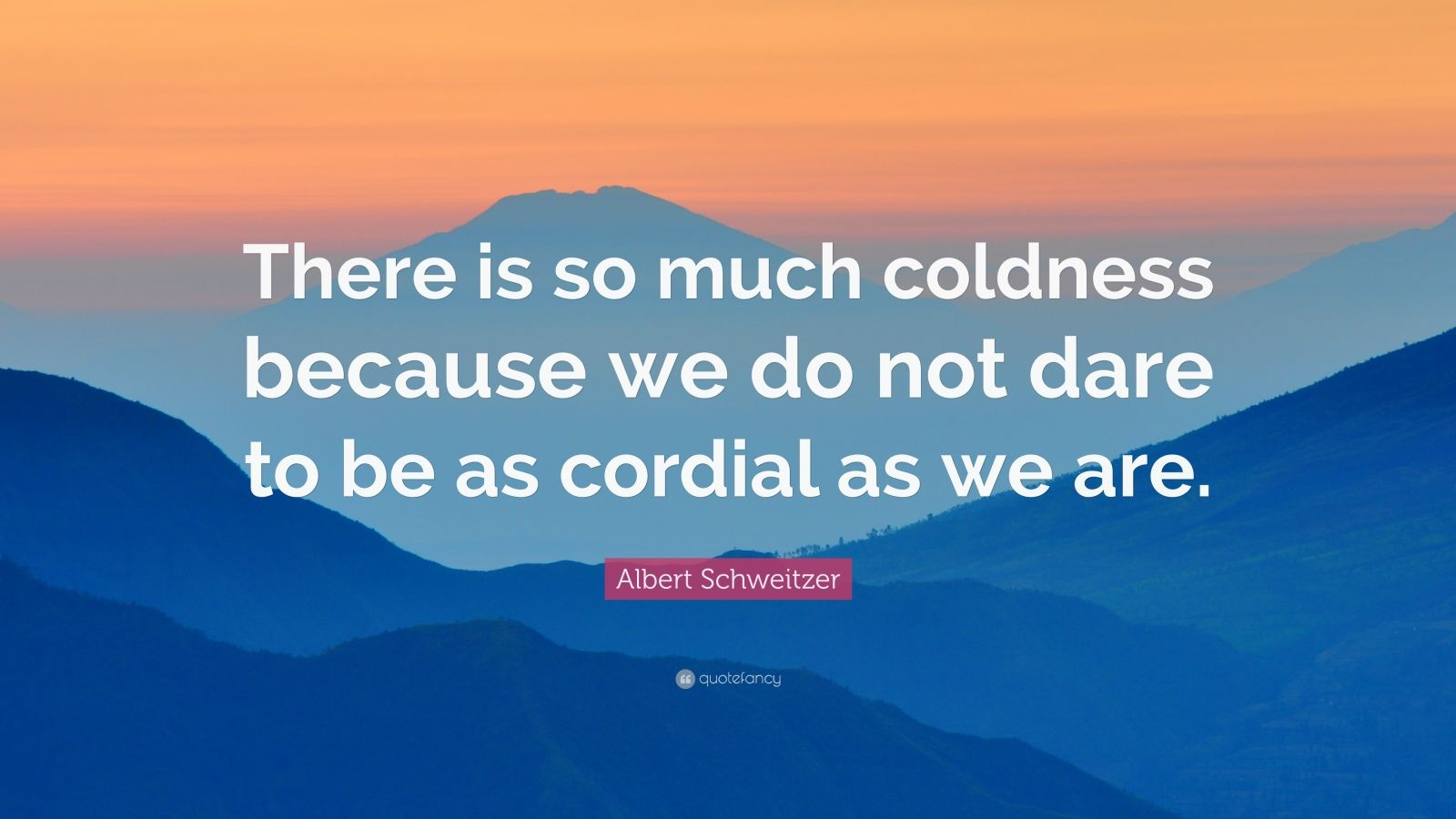 "Albert Schweitzer Quote: ""There is so much coldness because we do not dare to be as cordial as we are."""