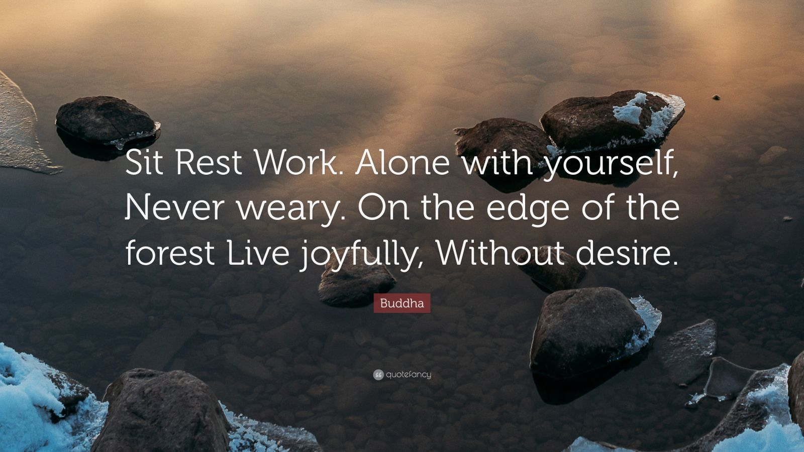 "Buddha Quote: ""Sit Rest Work. Alone with yourself, Never weary. On the edge of the forest Live joyfully, Without desire."""