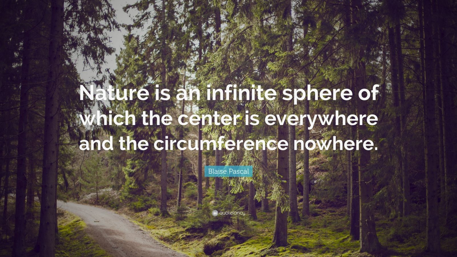"Blaise Pascal Quote: ""Nature is an infinite sphere of which the center is everywhere and the circumference nowhere."""