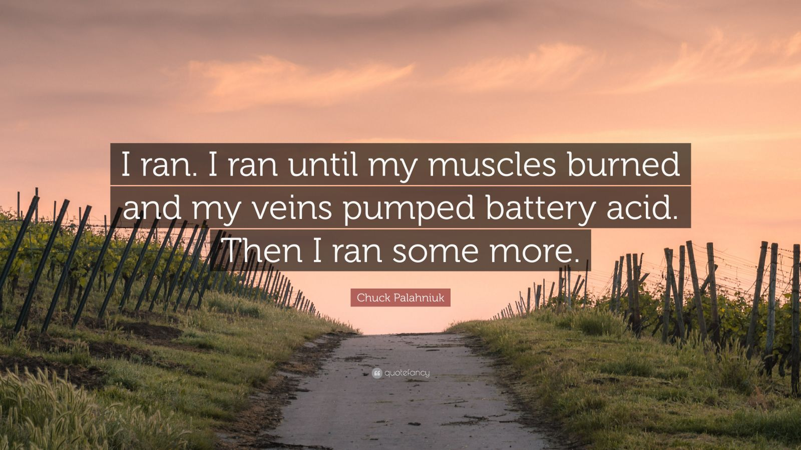 "Chuck Palahniuk Quote: ""I ran. I ran until my muscles burned and my veins pumped battery acid. Then I ran some more."""