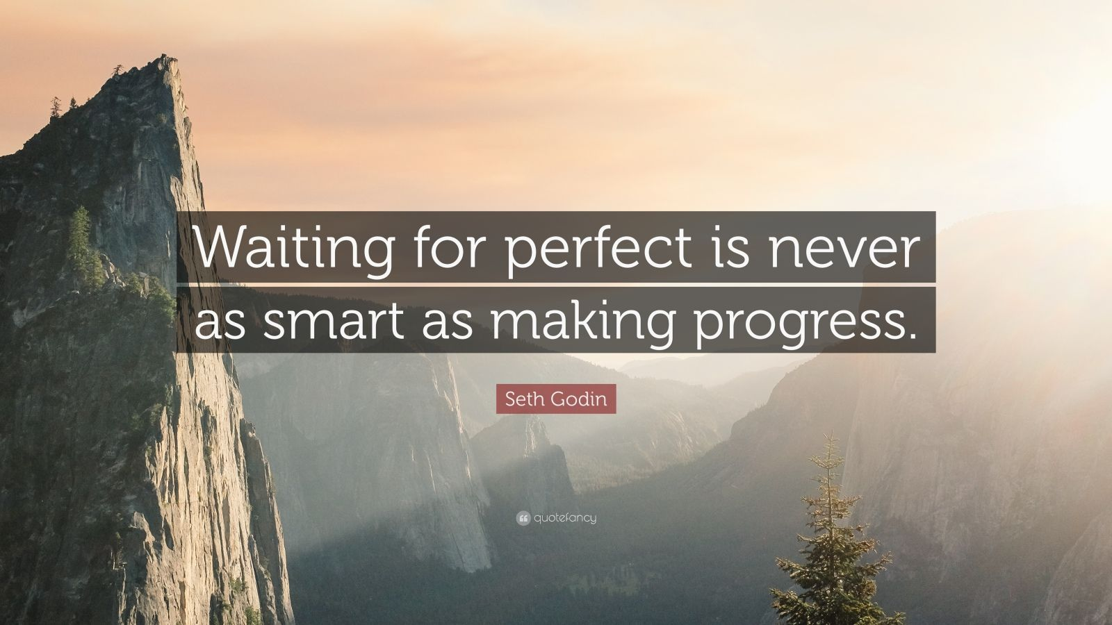 "Seth Godin Quote: ""Waiting for perfect is never as smart as making progress."""