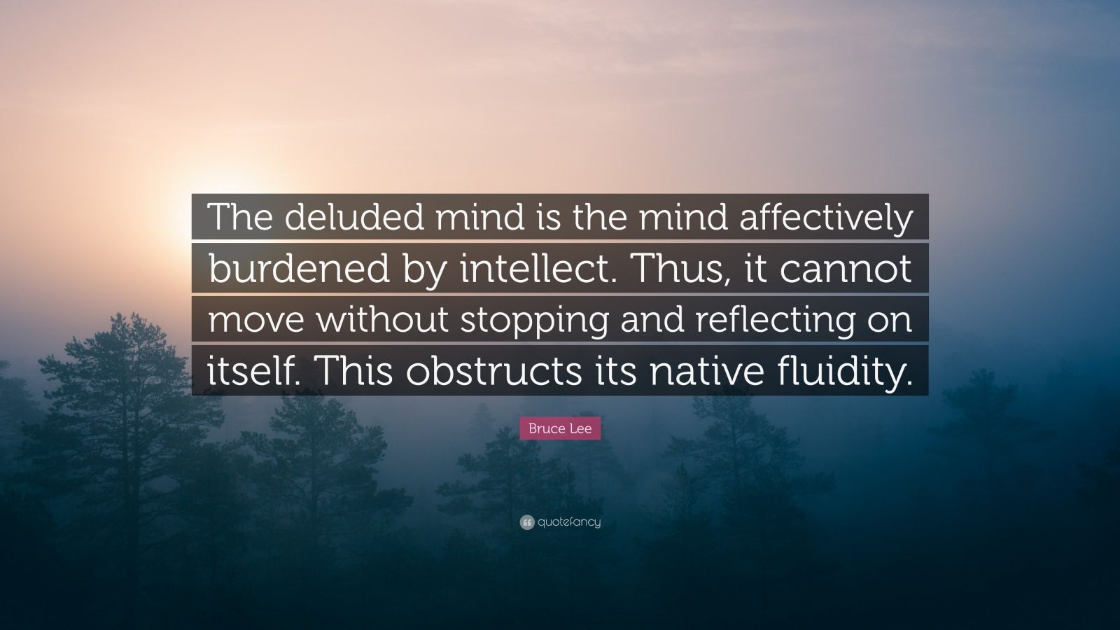 "Bruce Lee Quote: ""The deluded mind is the mind affectively burdened by intellect. Thus, it cannot move without stopping and reflecting on itself. This obstructs its native fluidity."""