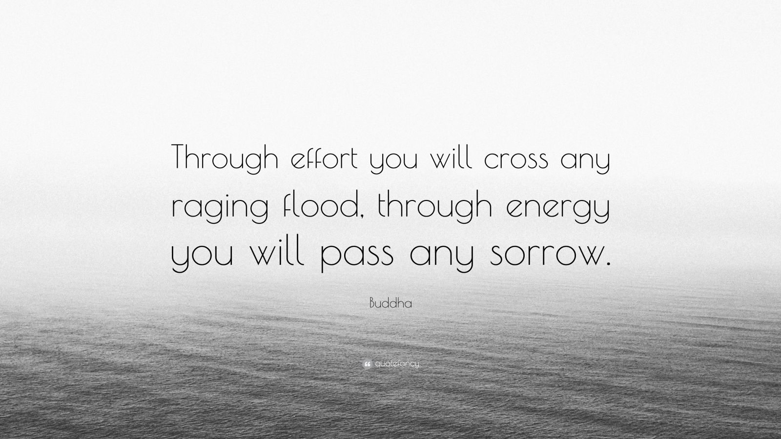"""Buddha Quote: """"Through effort you will cross any raging flood, through energy you will pass any sorrow."""""""