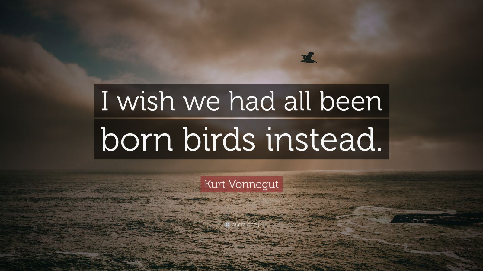 "Kurt Vonnegut Quote: ""I wish we had all been born birds instead."""