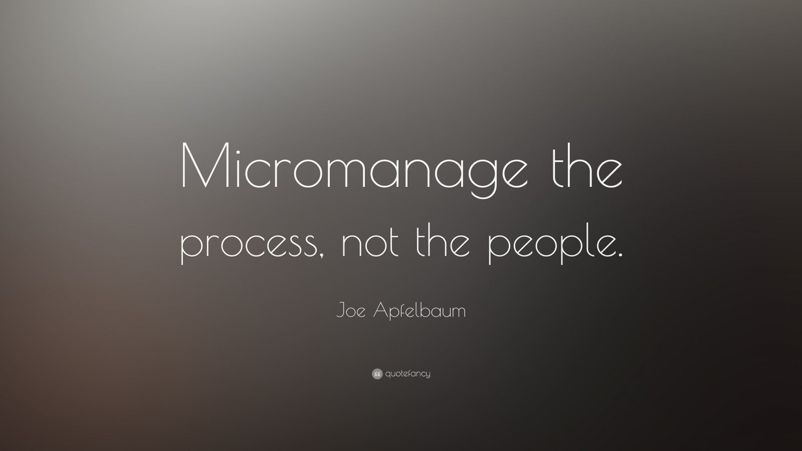"Joe Apfelbaum Quote: ""Micromanage the process, not the people."""