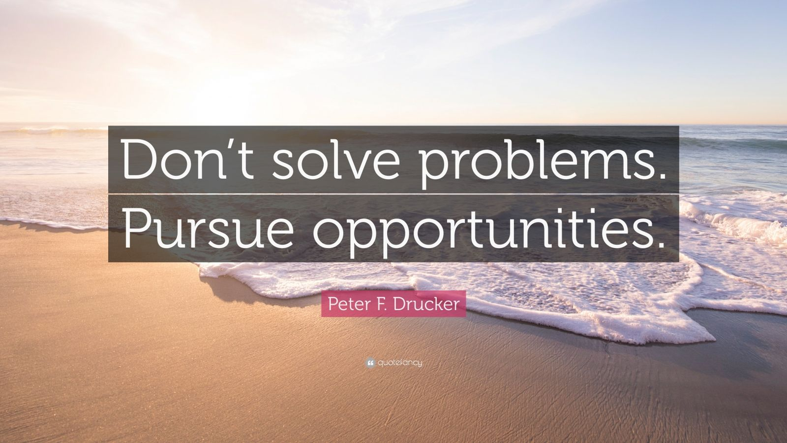 "Peter F. Drucker Quote: ""Don't solve problems. Pursue opportunities."""