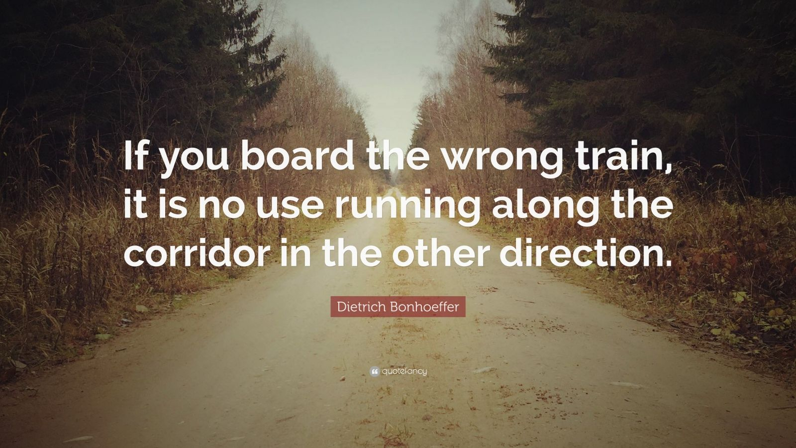 "Dietrich Bonhoeffer Quote: ""If you board the wrong train, it is no use running along the corridor in the other direction."""