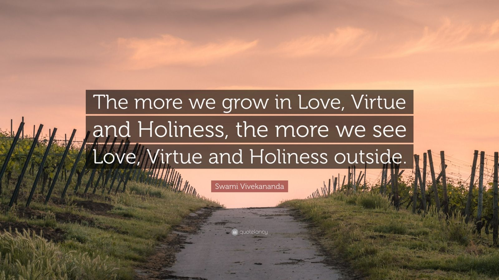 """Swami Vivekananda Quote: """"The more we grow in Love, Virtue and Holiness, the more we see Love, Virtue and Holiness outside."""""""
