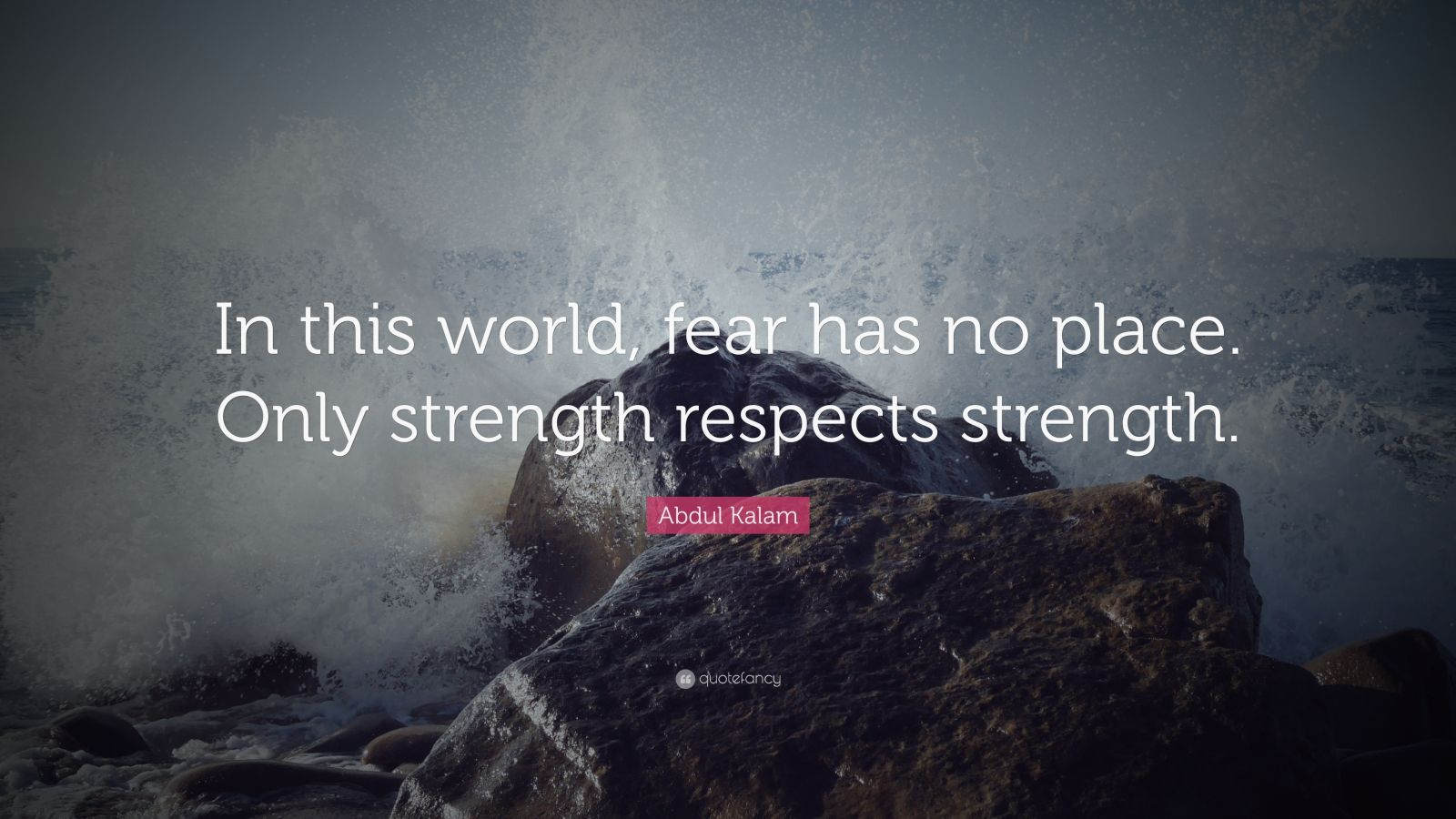 "Abdul Kalam Quote: ""In this world, fear has no place. Only strength respects strength."""