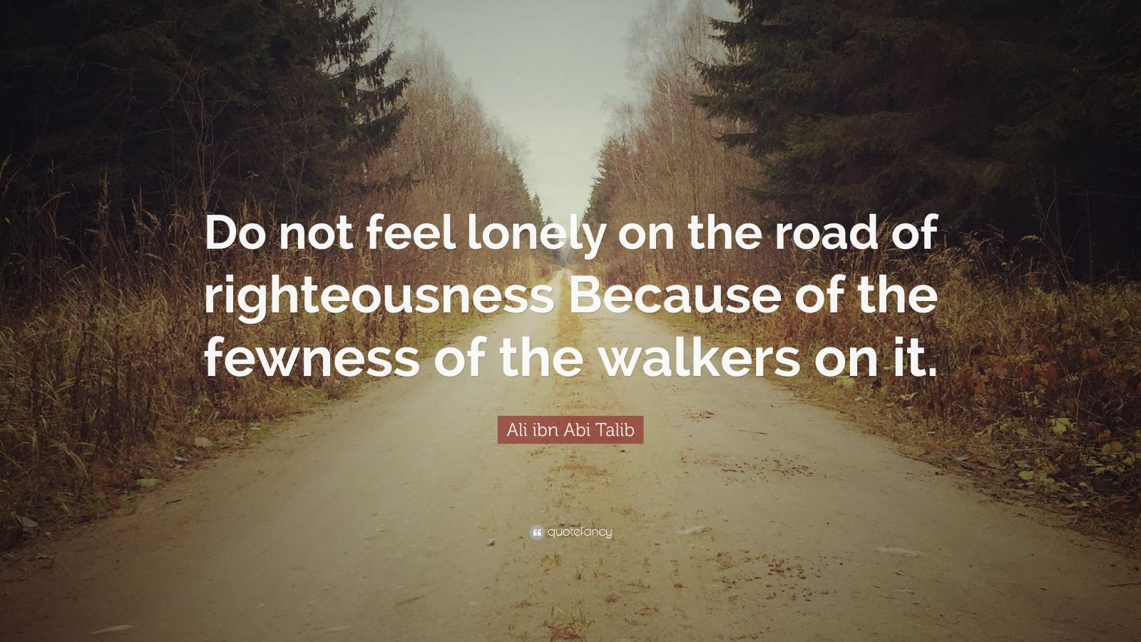 "Ali ibn Abi Talib Quote: ""Do not feel lonely on the road of righteousness Because of the fewness of the walkers on it."""
