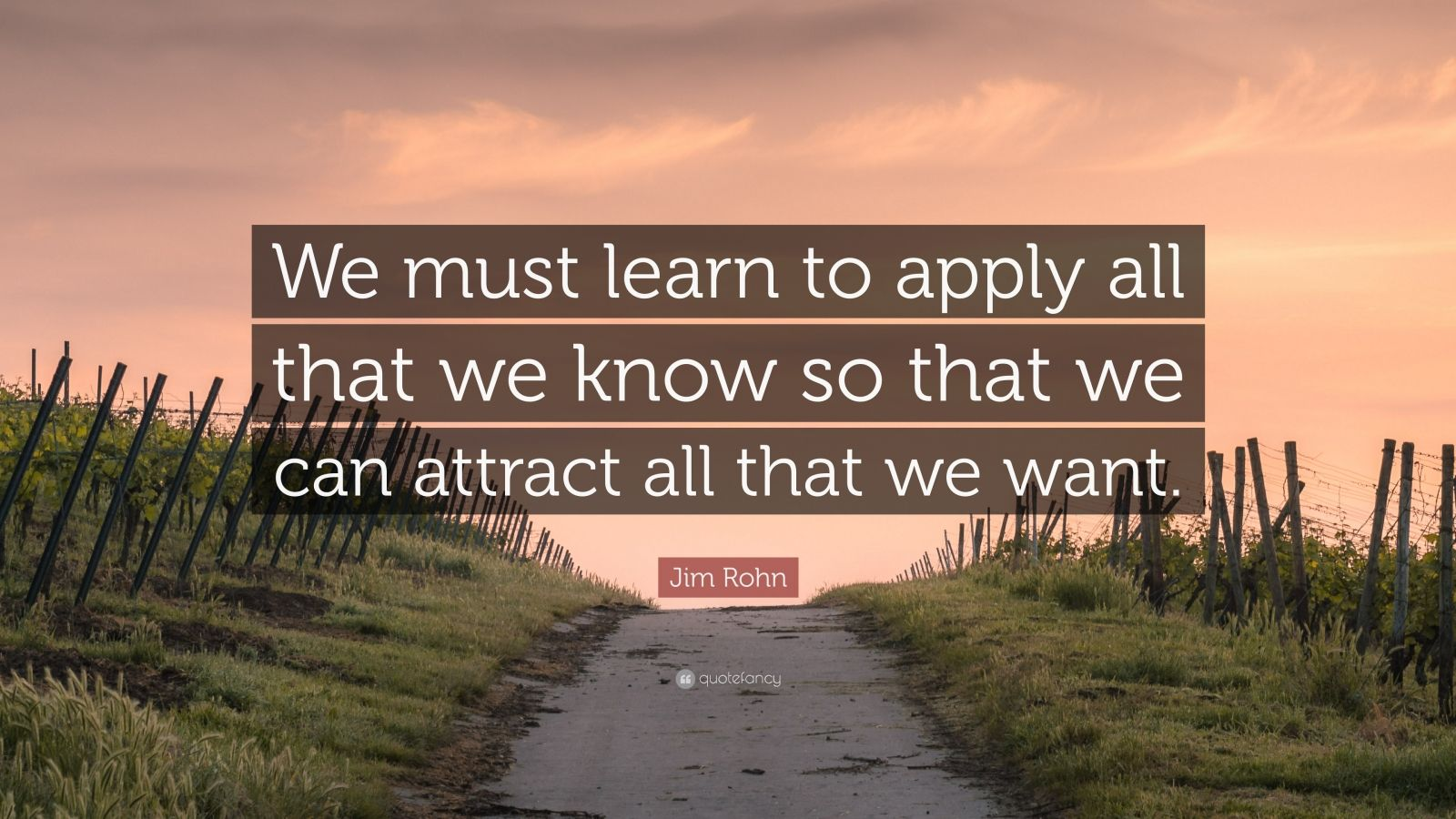"""Jim Rohn Quote: """"We must learn to apply all that we know so that we can attract all that we want."""""""