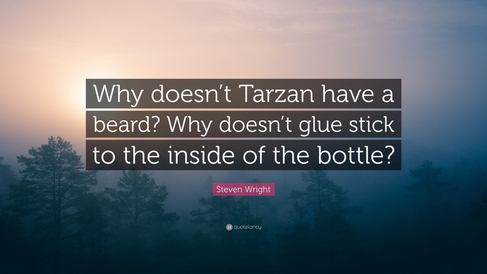 "Steven Wright Quote: ""Why doesn't Tarzan have a beard? Why doesn't glue stick to the inside of the bottle?"""