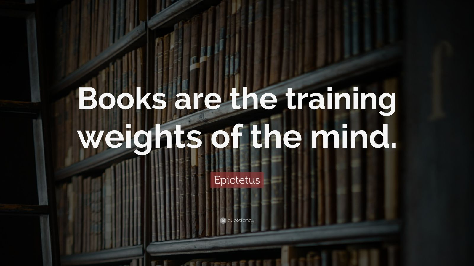 """Book Quotes: """"Books are the training weights of the mind."""" — Epictetus"""