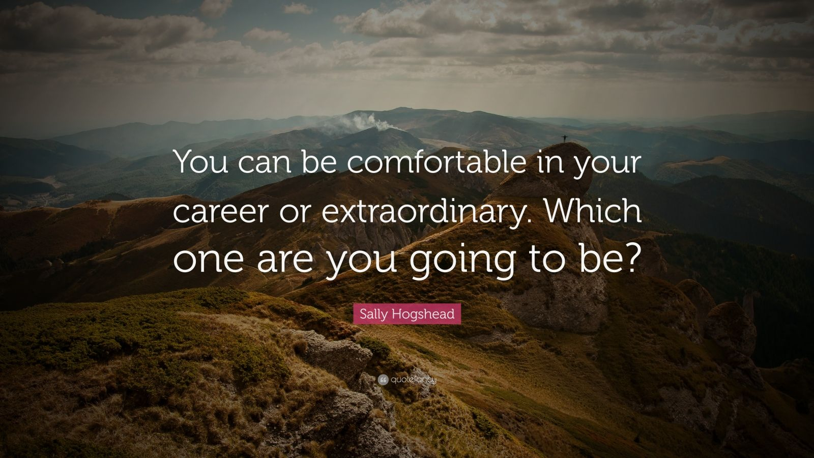 "Sally Hogshead Quote: ""You can be comfortable in your career or extraordinary. Which one are you going to be?"""
