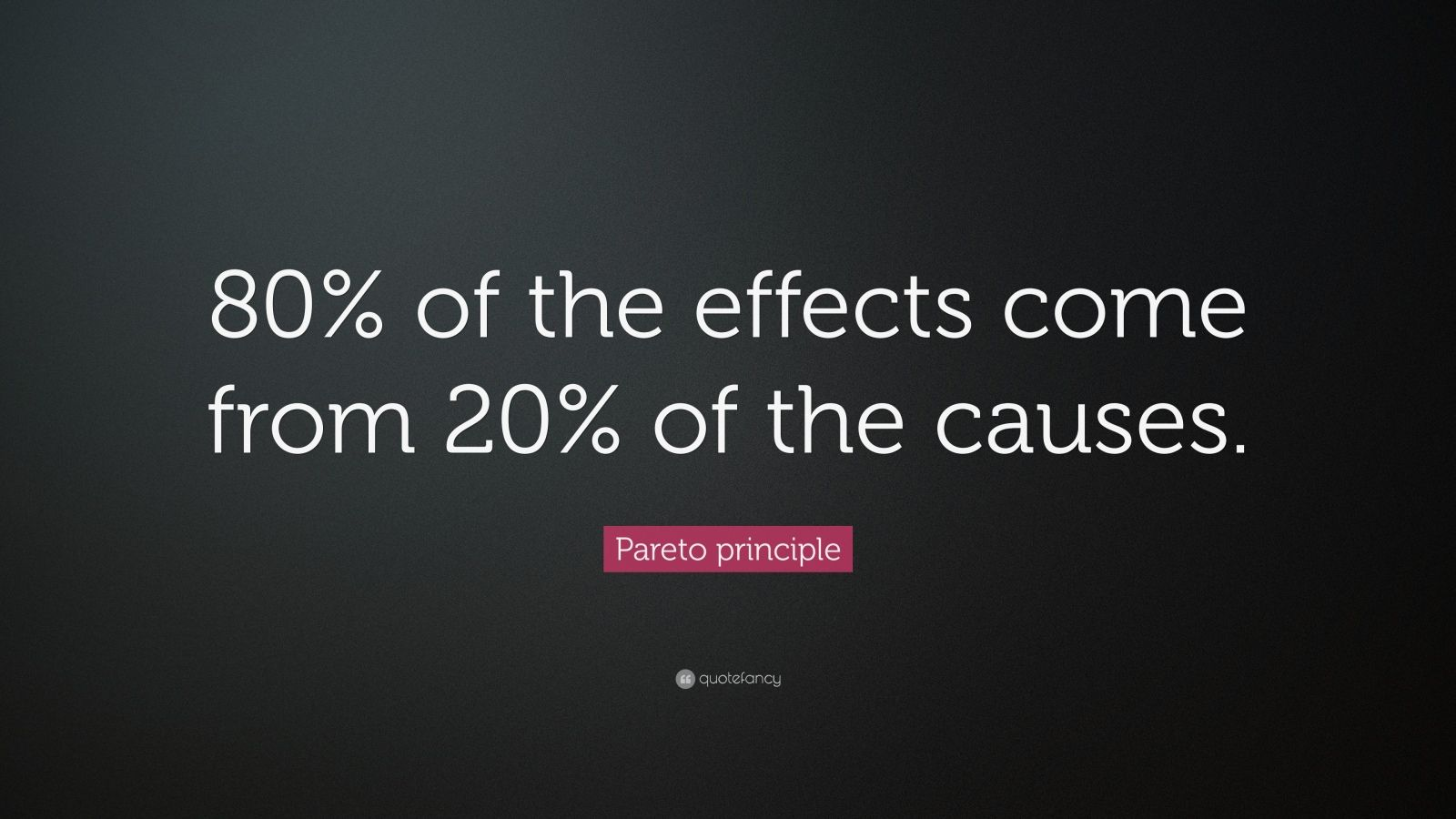 "Pareto Principle: ""80% of the effects come from 20% of the causes."" — Pareto principle"