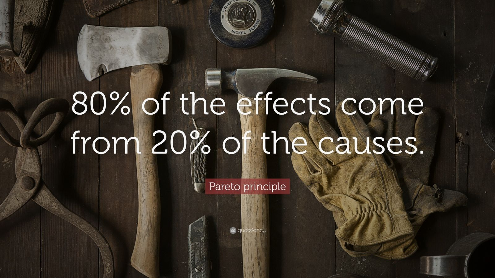 "Pareto principle Quote: ""80% of the effects come from 20% of the causes."""