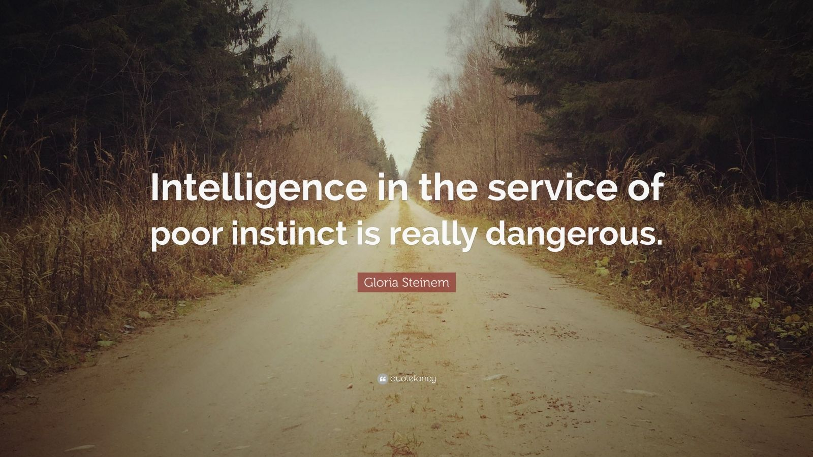 """Gloria Steinem Quote: """"Intelligence in the service of poor instinct is really dangerous."""""""