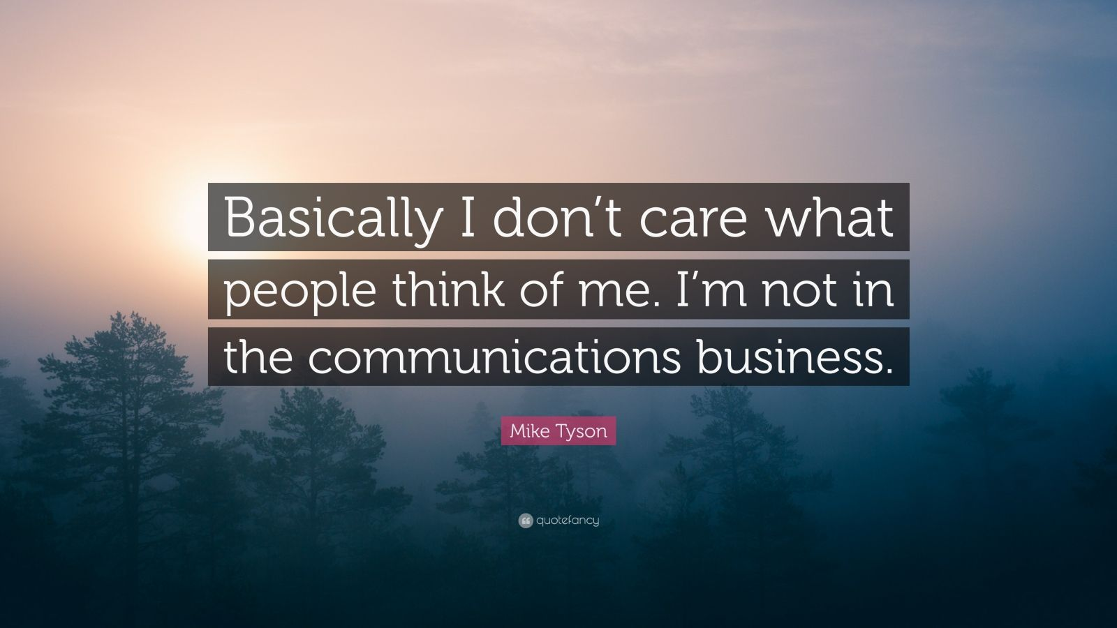 """Mike Tyson Quote: """"Basically I don't care what people think of me. I'm not in the communications business."""""""