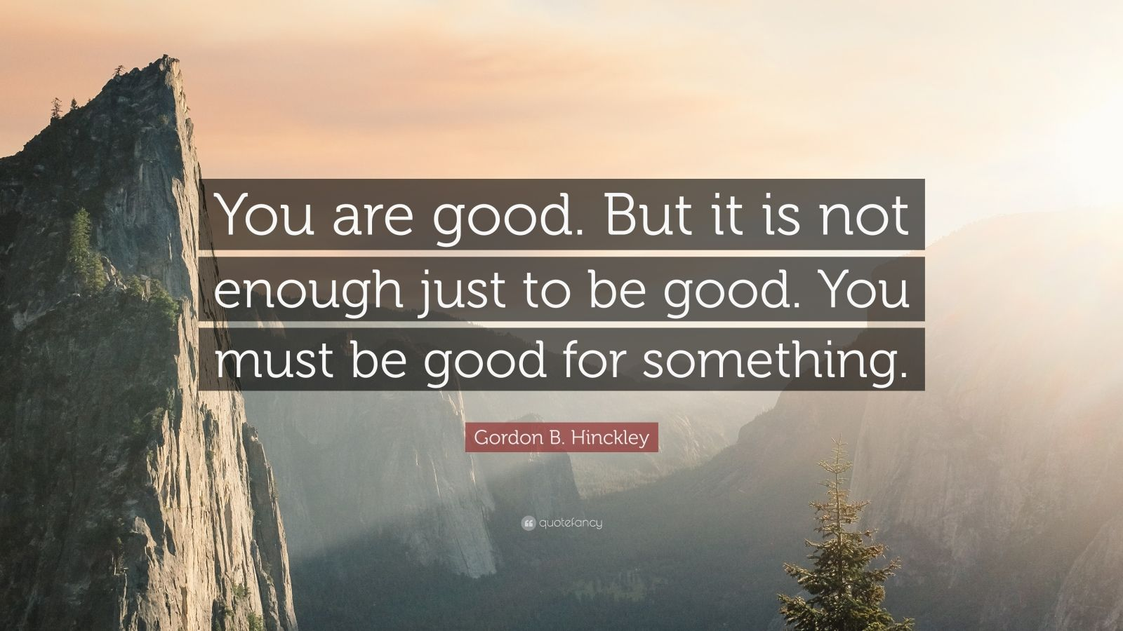 "Gordon B. Hinckley Quote: ""You are good. But it is not enough just to be good. You must be good for something."""