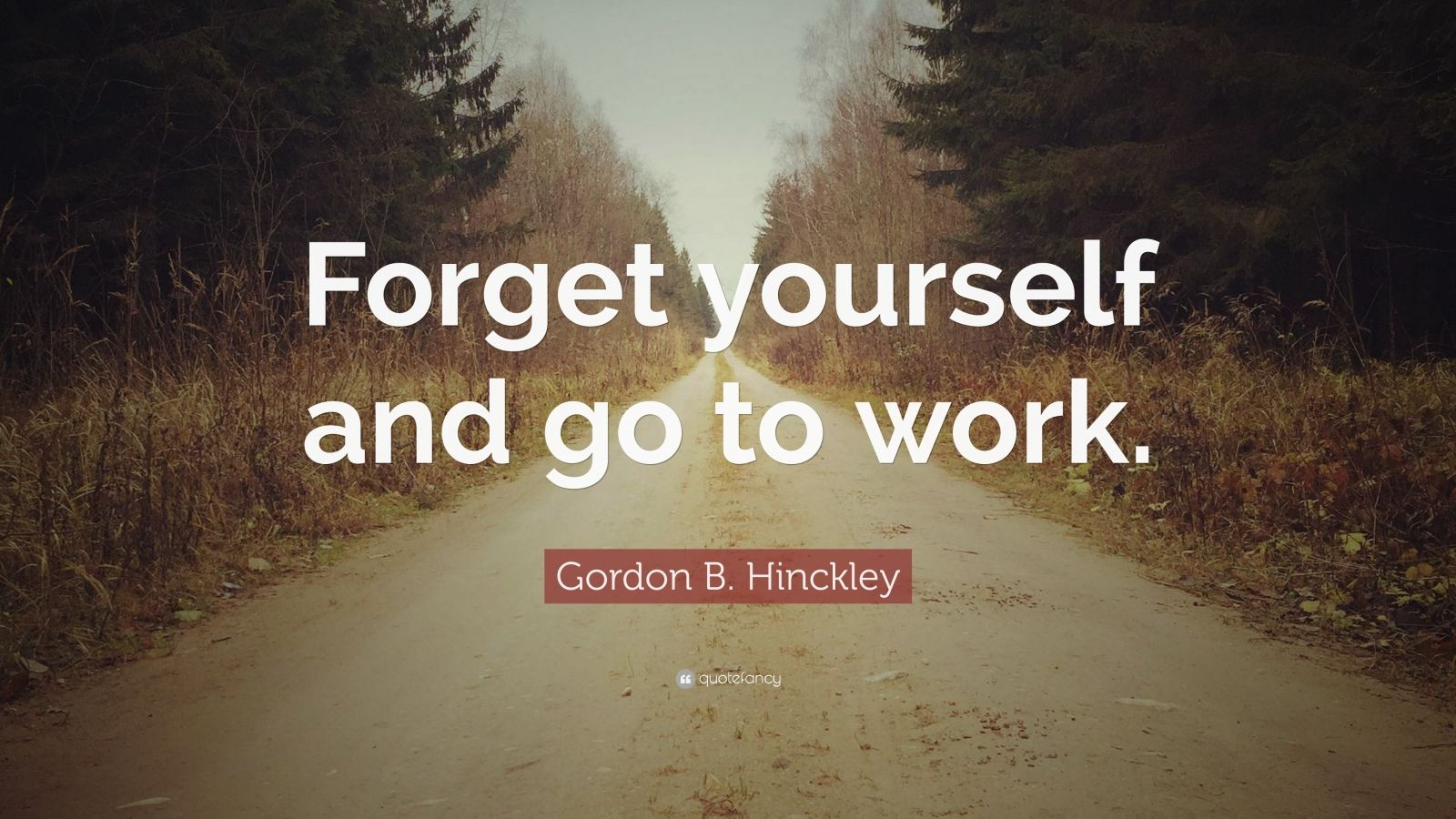"""Gordon B. Hinckley Quote: """"Forget yourself and go to work."""""""