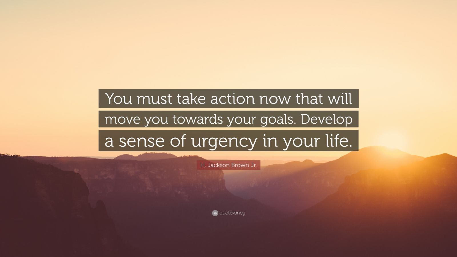"H. Jackson Brown Jr. Quote: ""You must take action now that will move you towards your goals. Develop a sense of urgency in your life."""