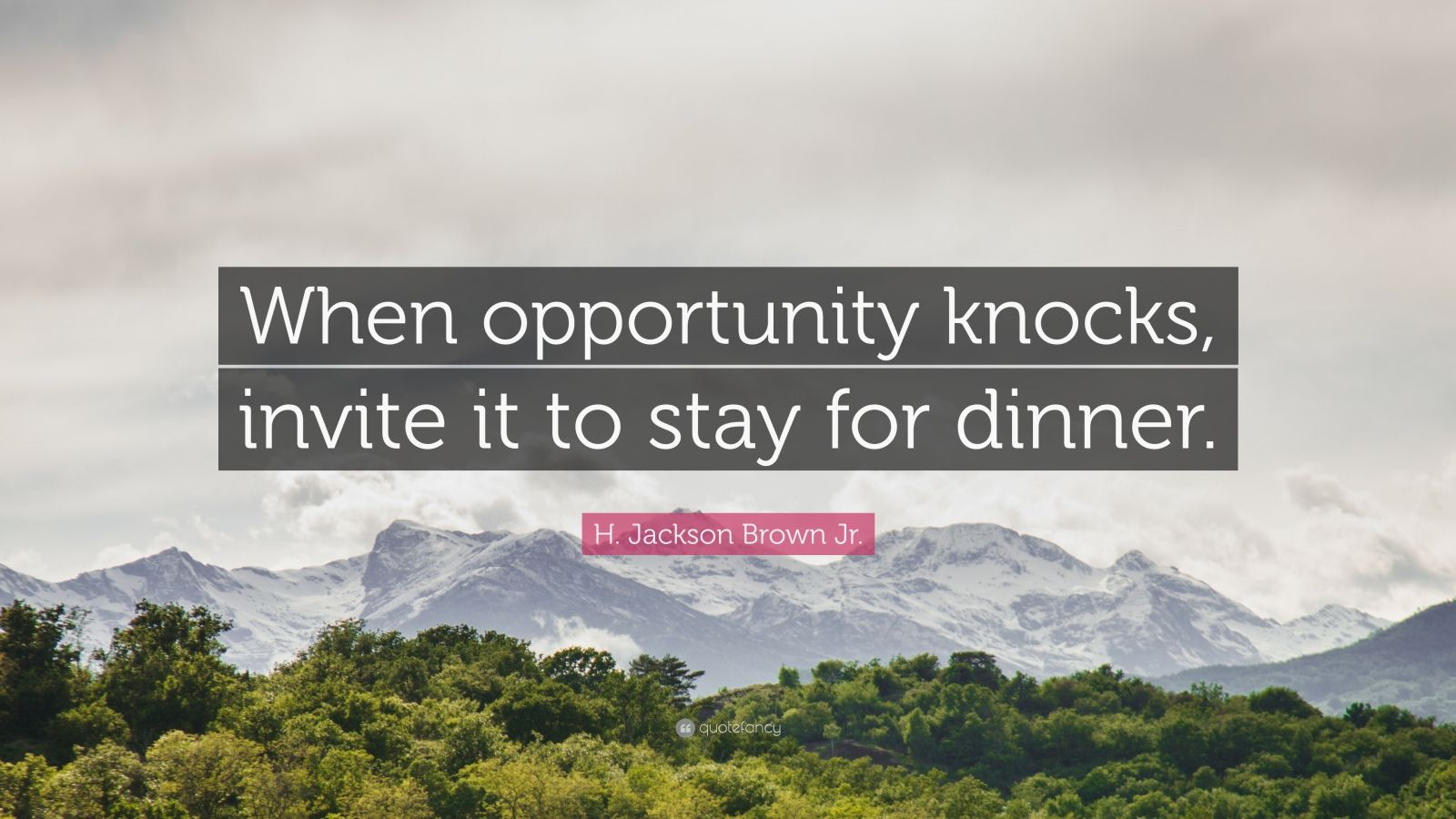 "H. Jackson Brown Jr. Quote: ""When opportunity knocks, invite it to stay for dinner."""