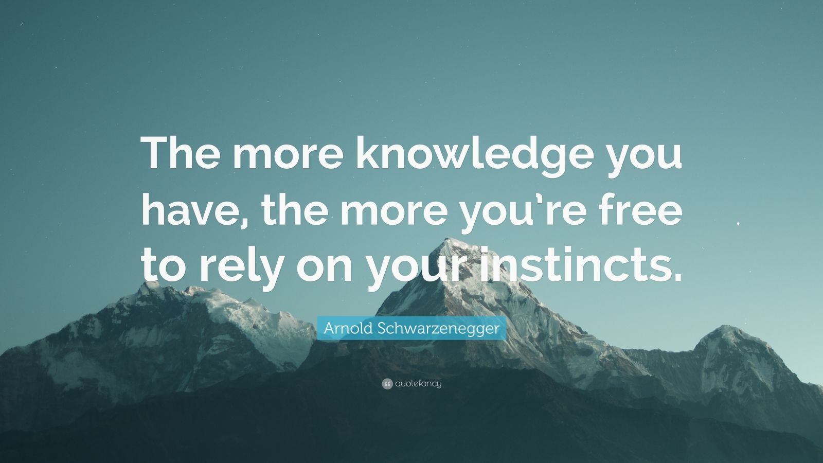 "Arnold Schwarzenegger Quote: ""The more knowledge you have, the more you're free to rely on your instincts."""
