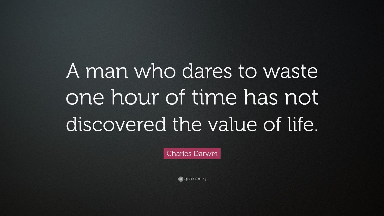 "Charles Darwin Quote: ""A man who dares to waste one hour of time has not discovered the value of life."""