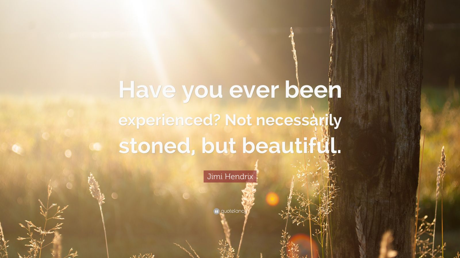 "Jimi Hendrix Quote: ""Have you ever been experienced? Not necessarily stoned, but beautiful."""