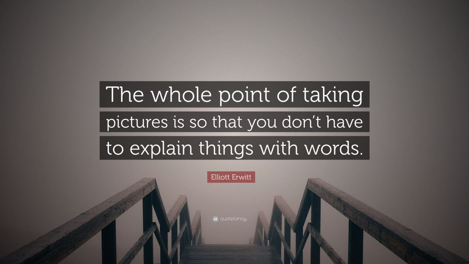 "Elliott Erwitt Quote: ""The whole point of taking pictures is so that you don't have to explain things with words."""
