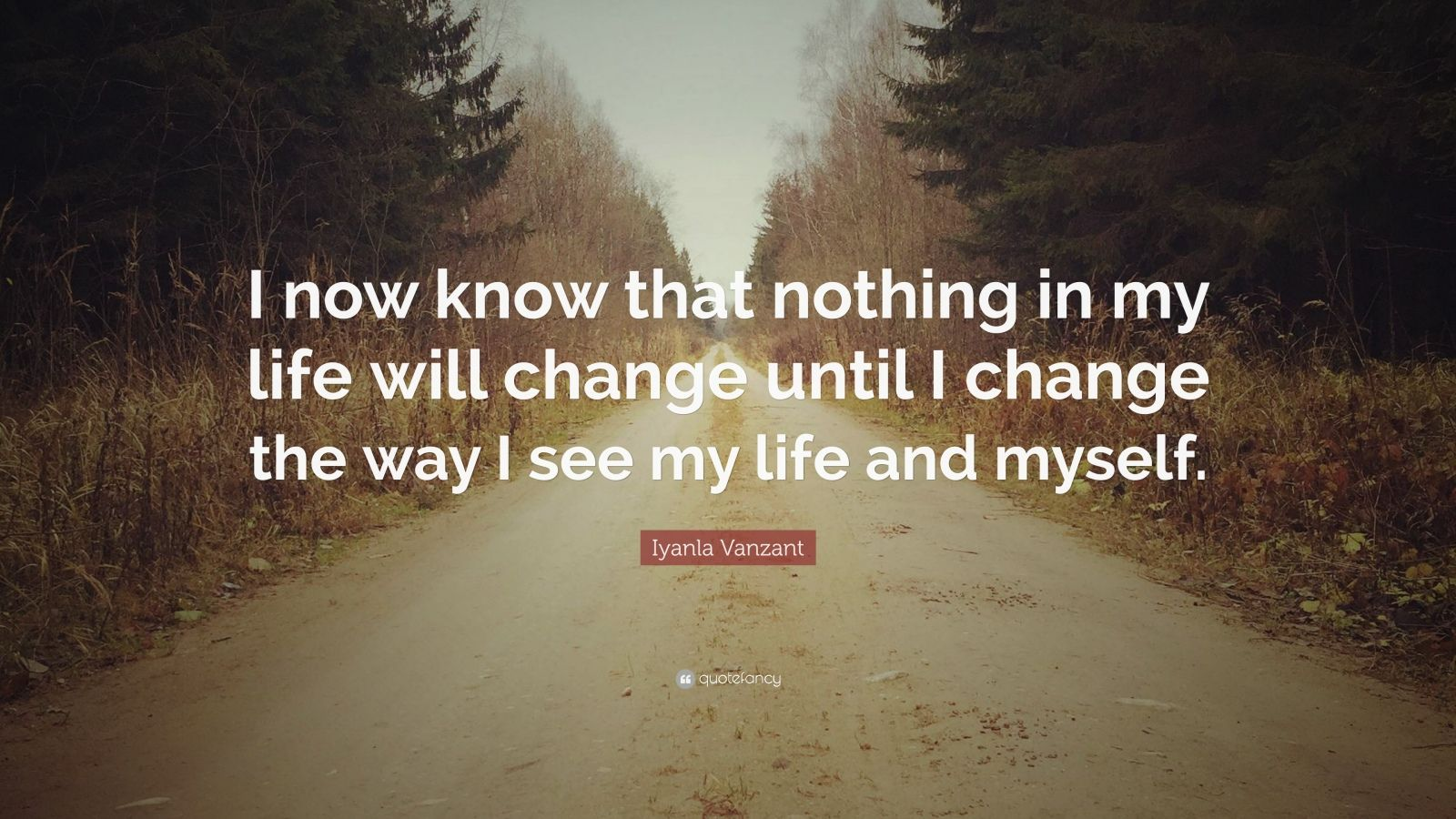 "Iyanla Vanzant Quote: ""I now know that nothing in my life will change until I change the way I see my life and myself."""