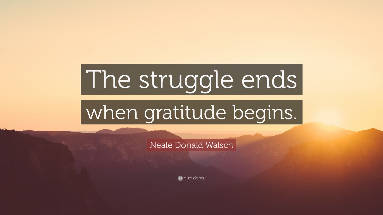 "Neale Donald Walsch Quote: ""The struggle ends when gratitude begins."""