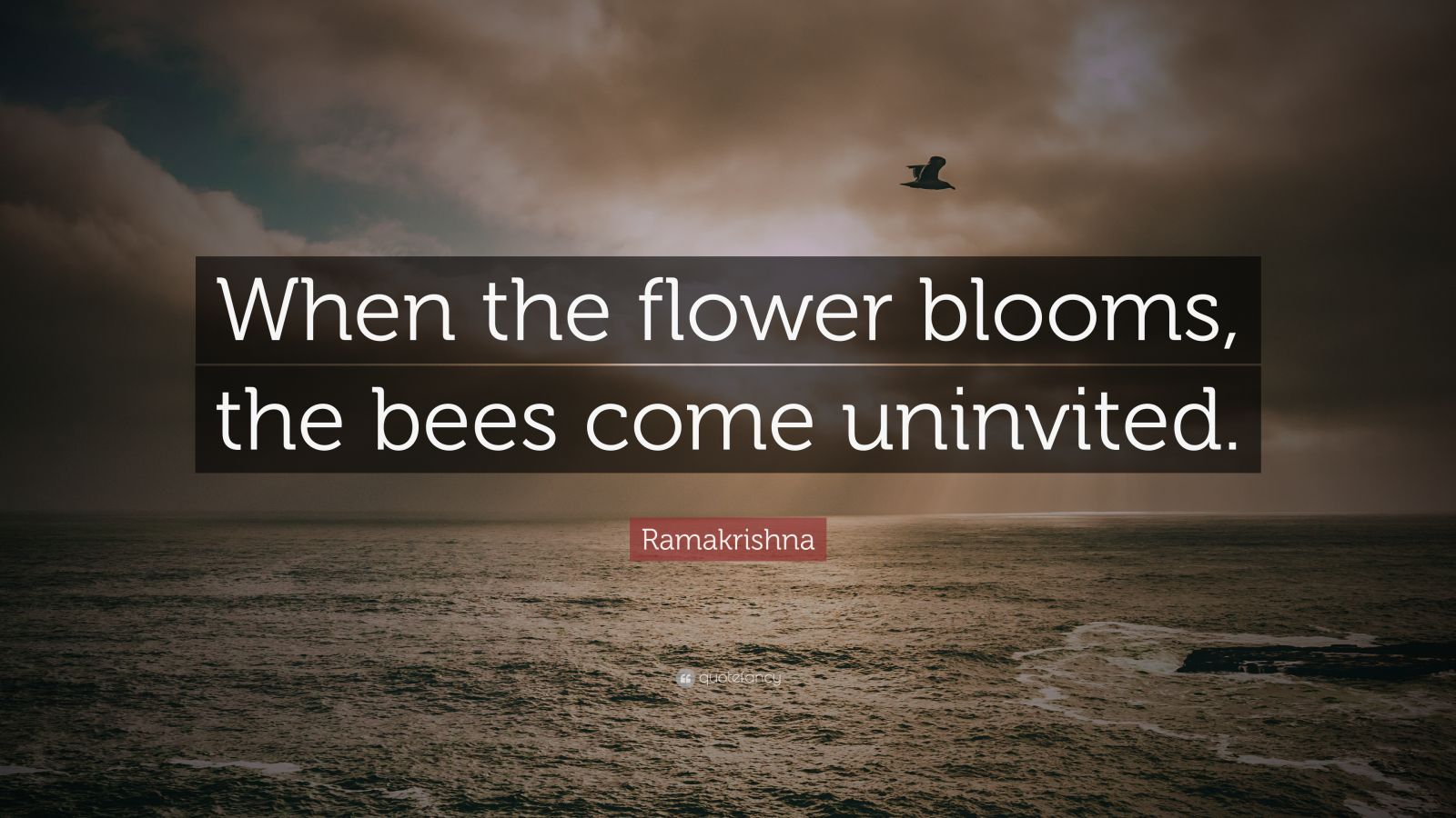 """Ramakrishna Quote: """"When the flower blooms, the bees come uninvited."""""""