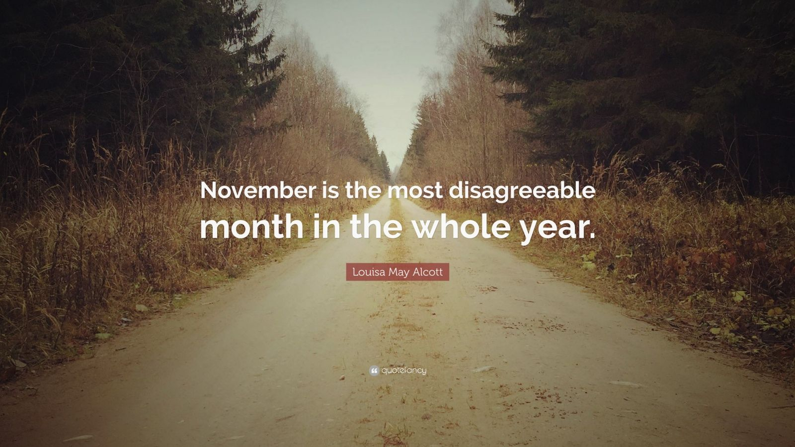 """Louisa May Alcott Quote: """"November is the most disagreeable month in the whole year."""""""