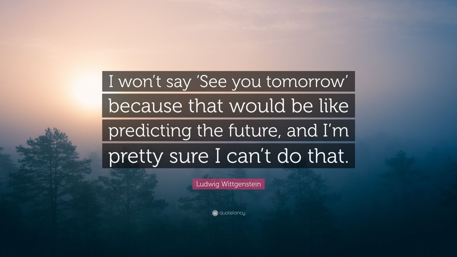 "Ludwig Wittgenstein Quote: ""I won't say 'See you tomorrow' because that would be like predicting the future, and I'm pretty sure I can't do that."""