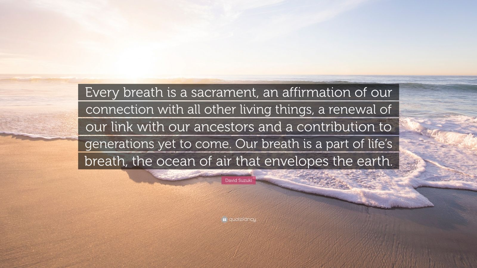 """David Suzuki Quote: """"Every breath is a sacrament, an affirmation of our connection with all other living things, a renewal of our link with our ancestors and a contribution to generations yet to come. Our breath is a part of life's breath, the ocean of air that envelopes the earth."""""""