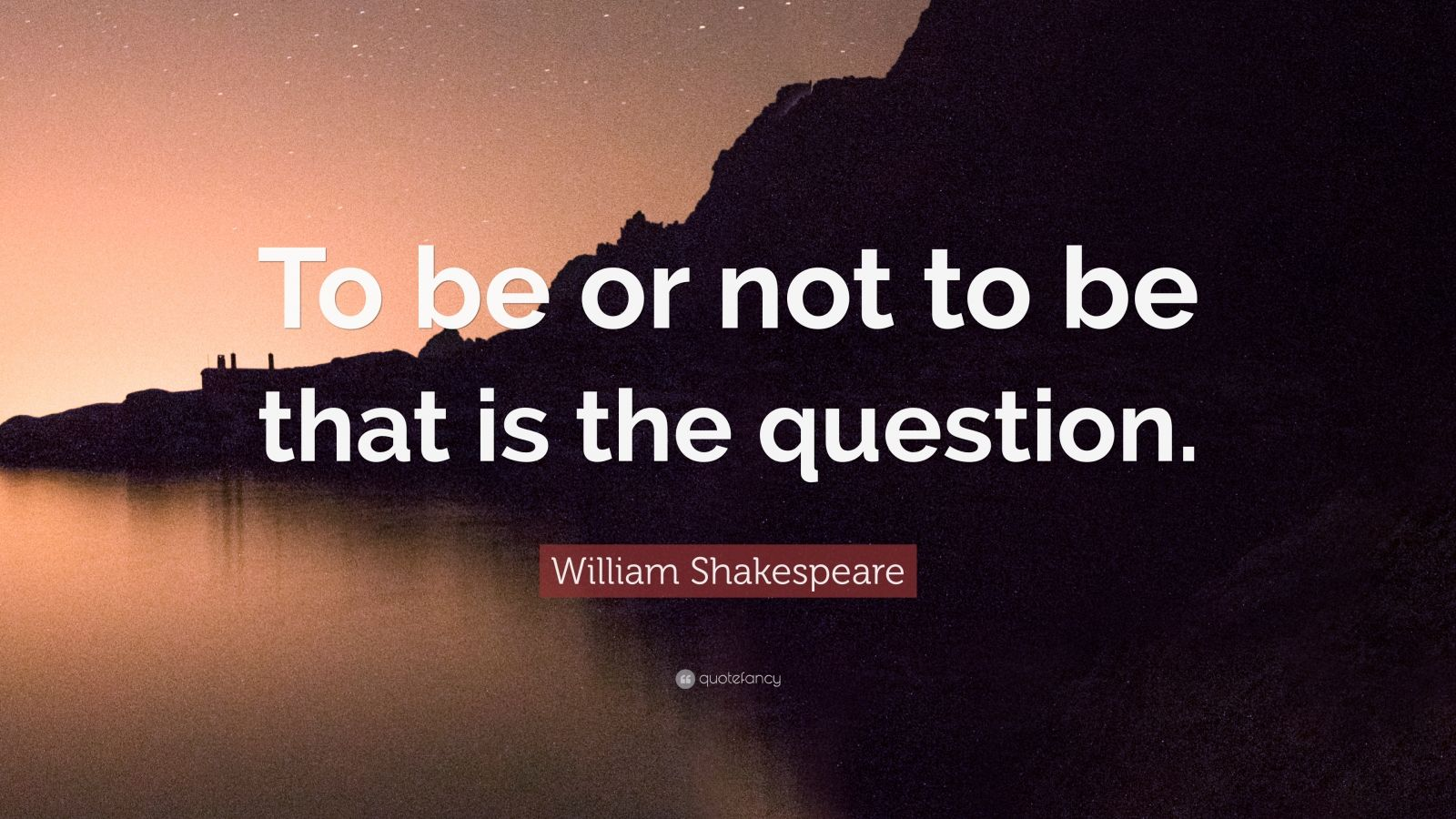 """William Shakespeare Quote: """"To be or not to be that is the question."""""""