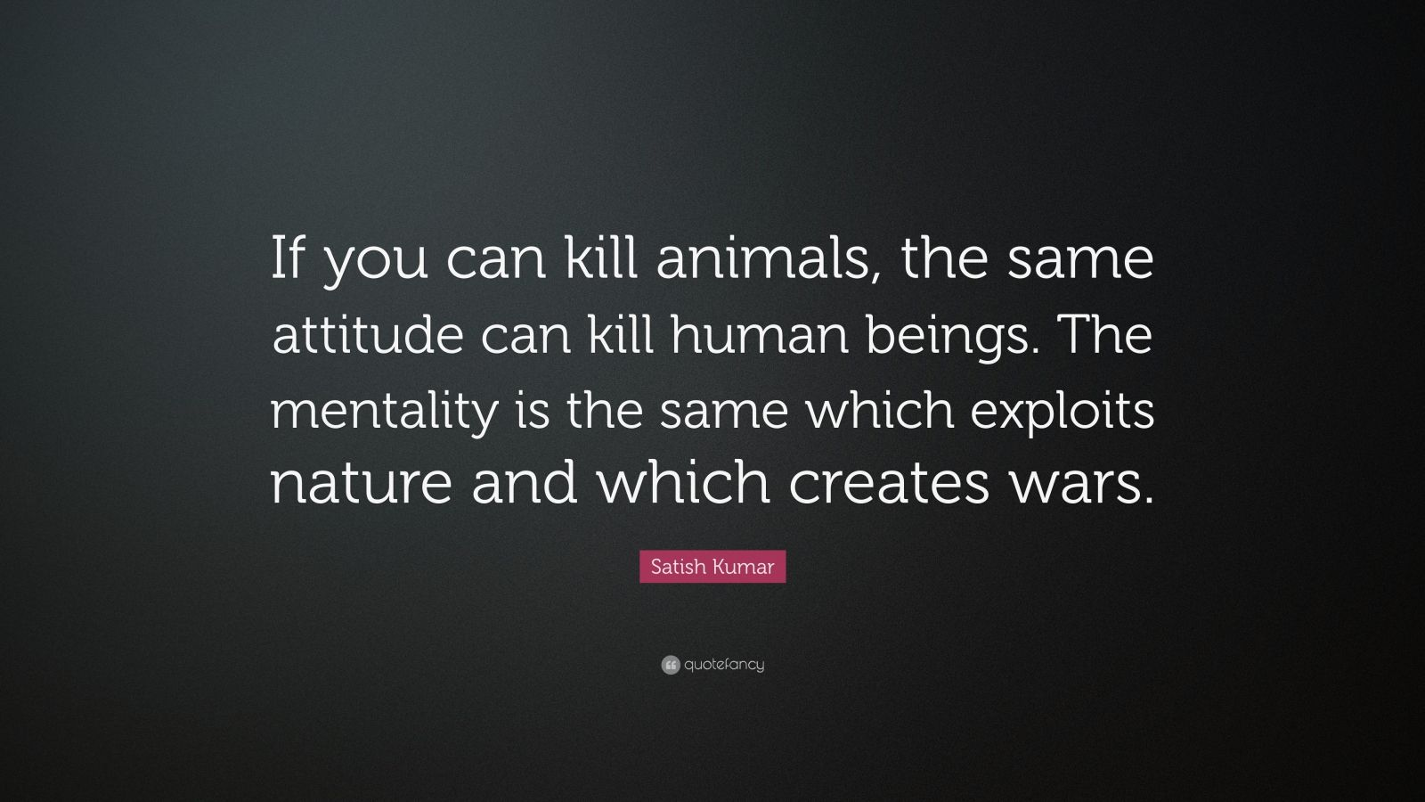 "Satish Kumar Quote: ""If you can kill animals, the same attitude can kill human beings. The mentality is the same which exploits nature and which creates wars."""