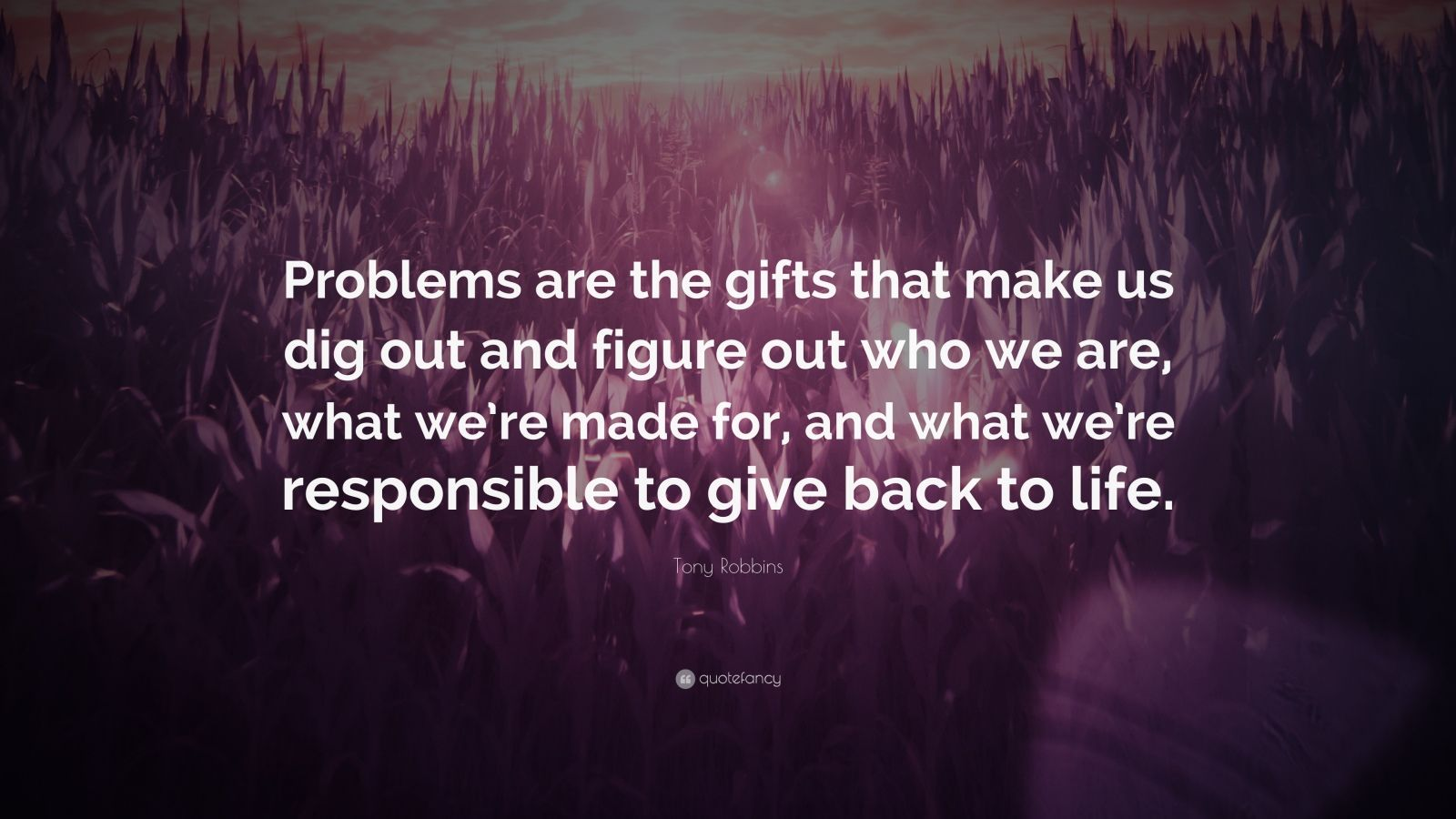 "Tony Robbins Quote: ""Problems are the gifts that make us dig out and figure out who we are, what we're made for, and what we're responsible to give back to life."""