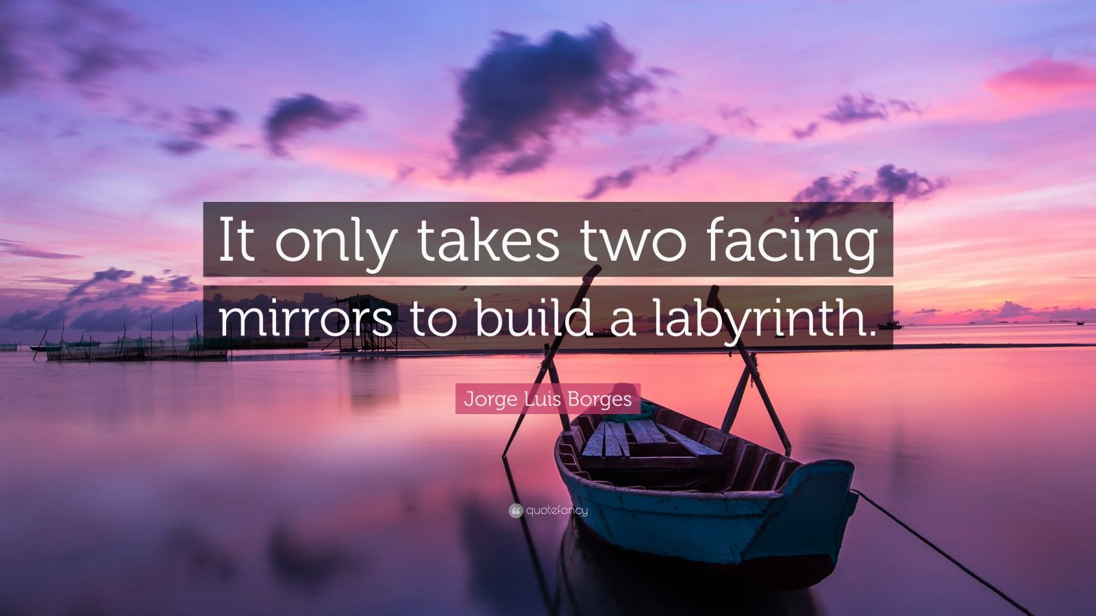 "Jorge Luis Borges Quote: ""It only takes two facing mirrors to build a labyrinth."""