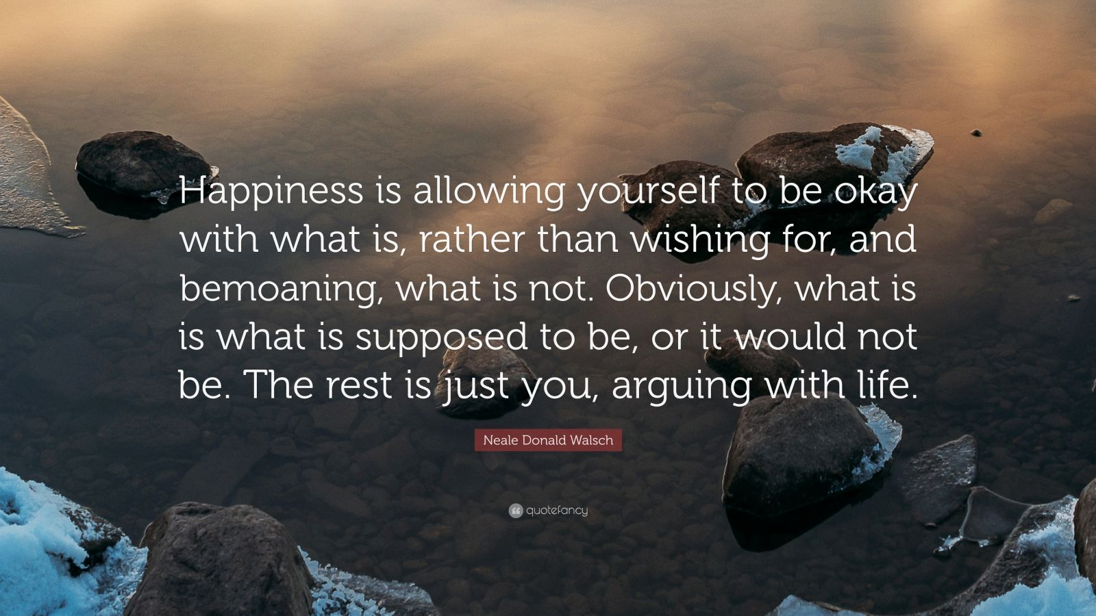 """Neale Donald Walsch Quote: """"Happiness is allowing yourself to be okay with what is, rather than wishing for, and bemoaning, what is not. Obviously, what is is what is supposed to be, or it would not be. The rest is just you, arguing with life."""""""