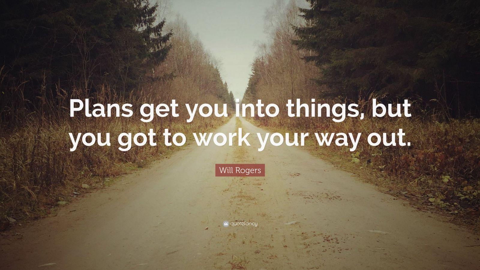 "Will Rogers Quote: ""Plans get you into things, but you got to work your way out."""