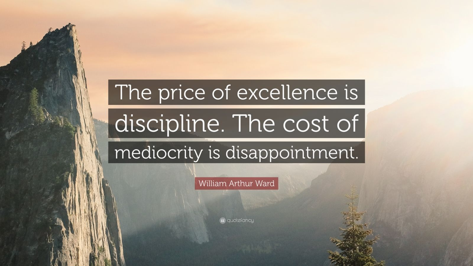 "William Arthur Ward Quote: ""The price of excellence is discipline. The cost of mediocrity is disappointment."""