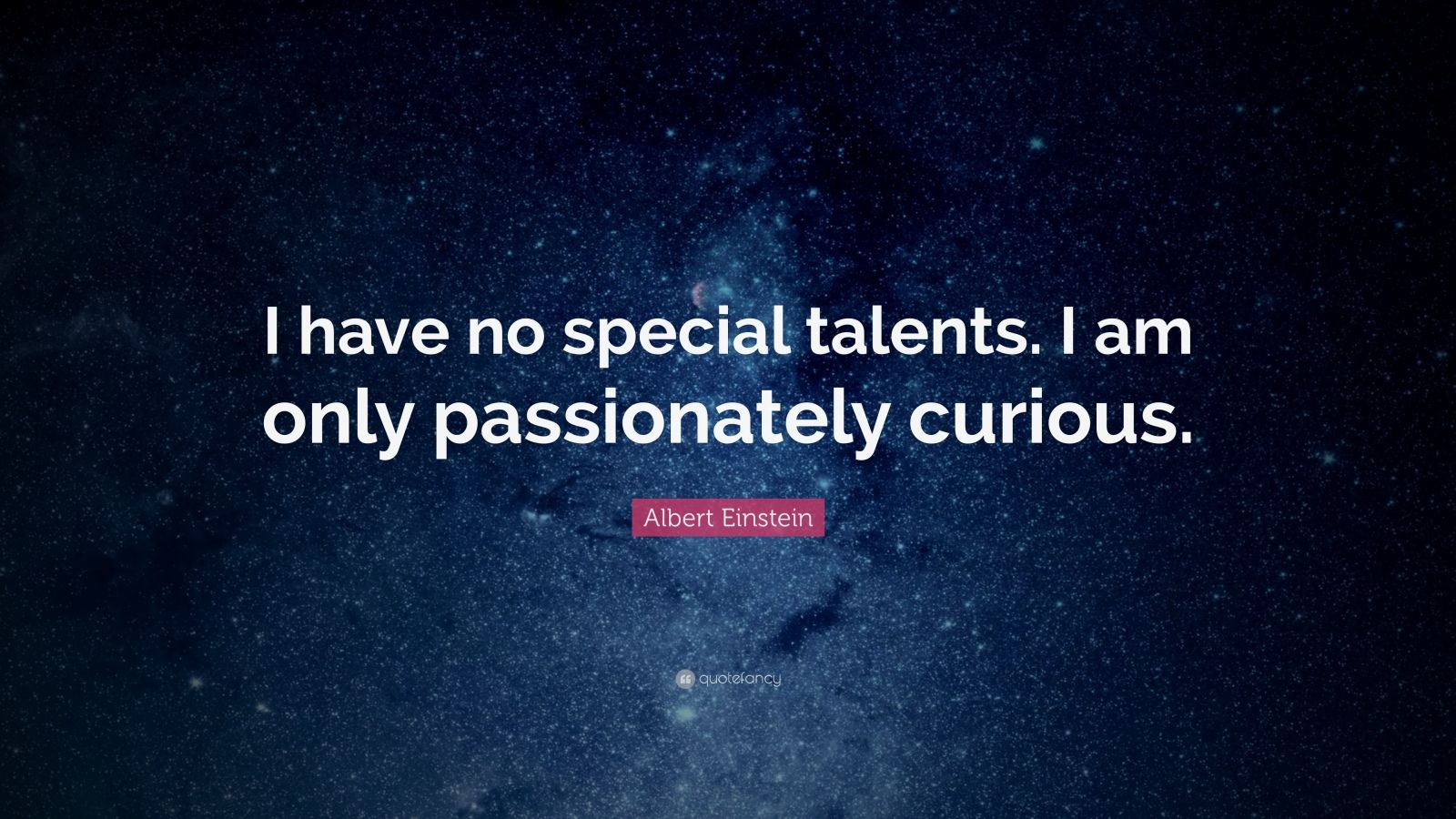 I Have No Special Talent Albert Einstein