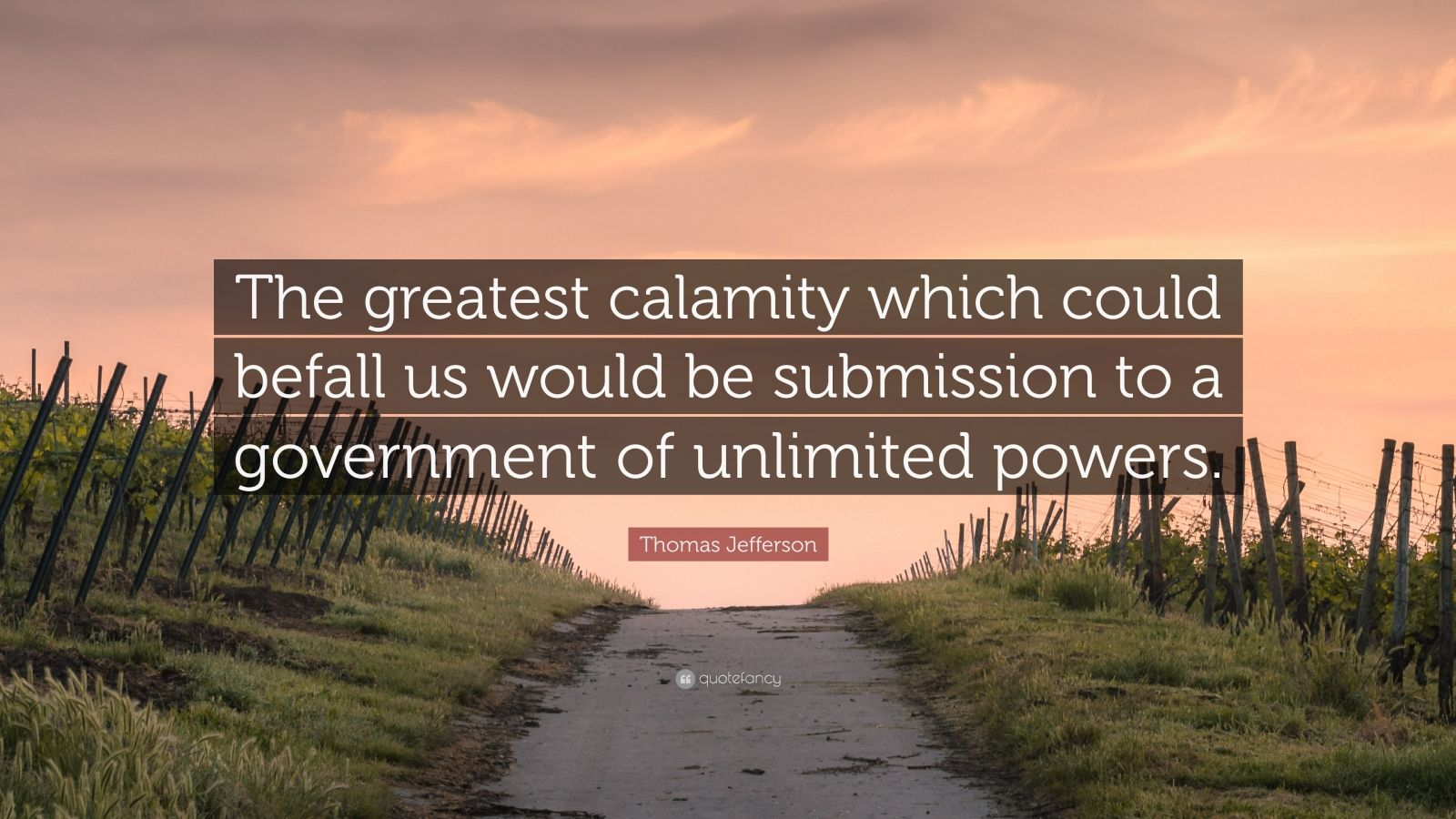 "Thomas Jefferson Quote: ""The greatest calamity which could befall us would be submission to a government of unlimited powers."""