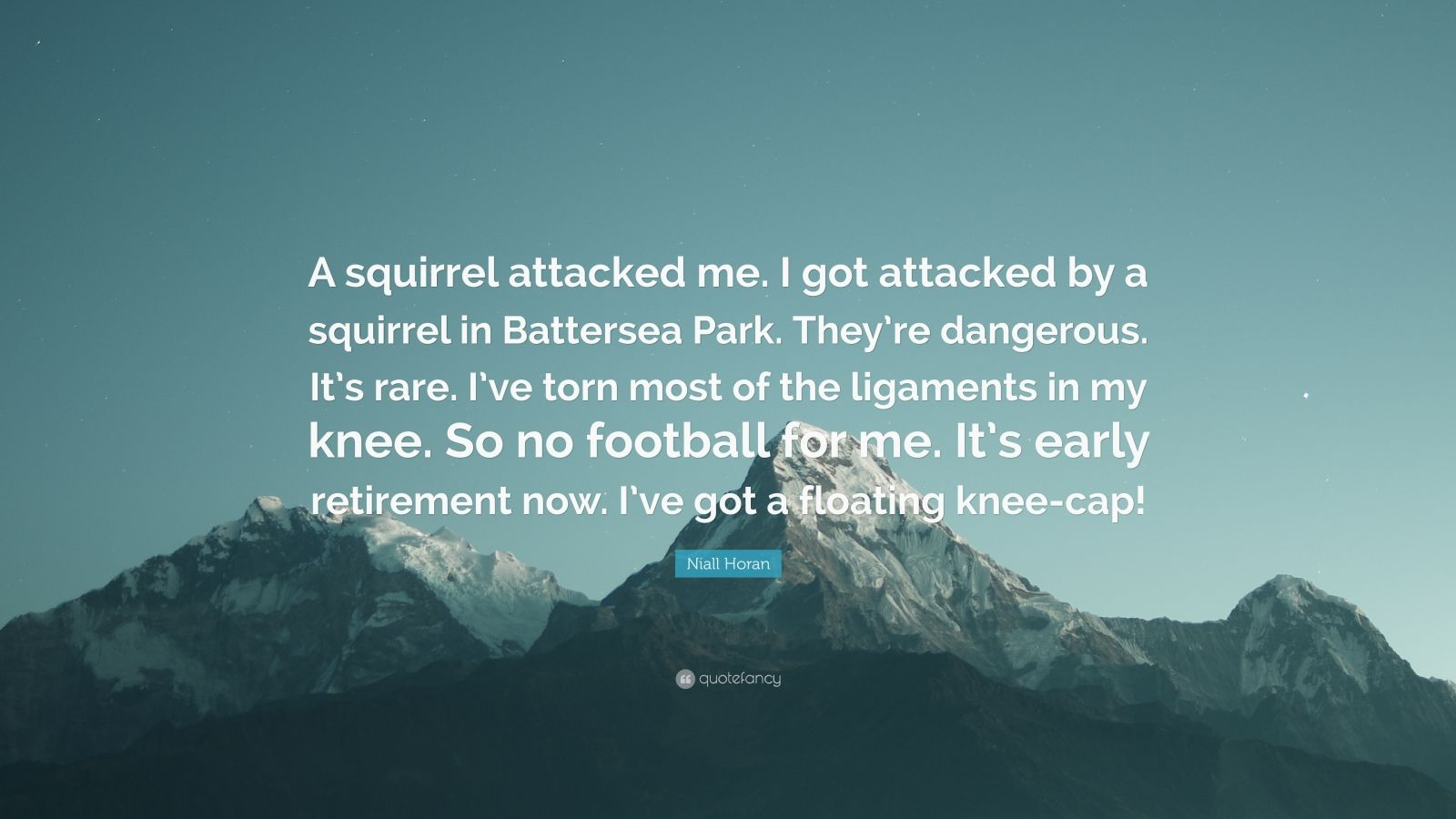 "Niall Horan Quote: ""A squirrel attacked me. I got attacked by a squirrel in Battersea Park. They're dangerous. It's rare. I've torn most of the ligaments in my knee. So no football for me. It's early retirement now. I've got a floating knee-cap!"""