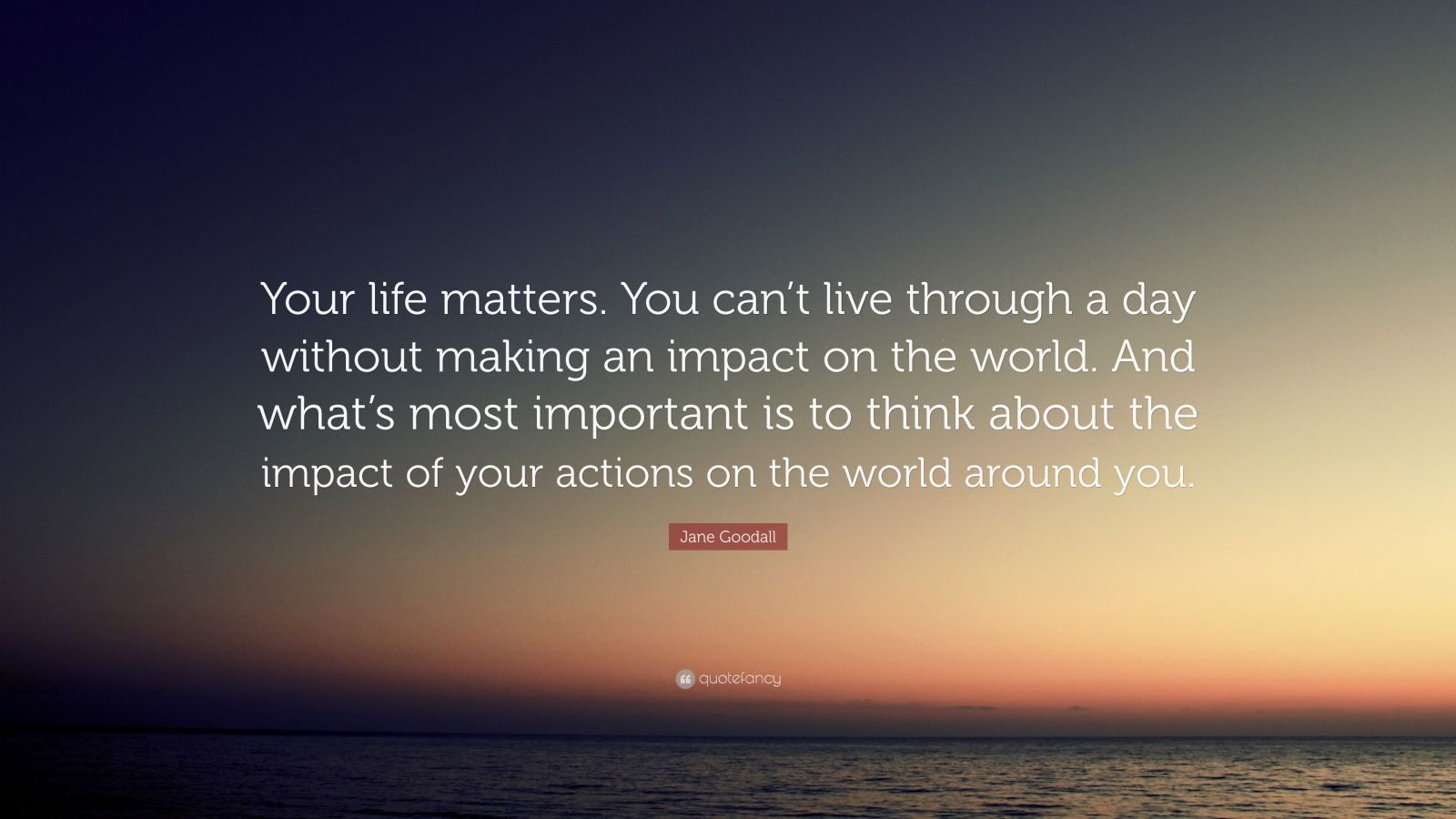 "Jane Goodall Quote: ""Your life matters. You can't live through a day without making an impact on the world. And what's most important is to think about the impact of your actions on the world around you."""