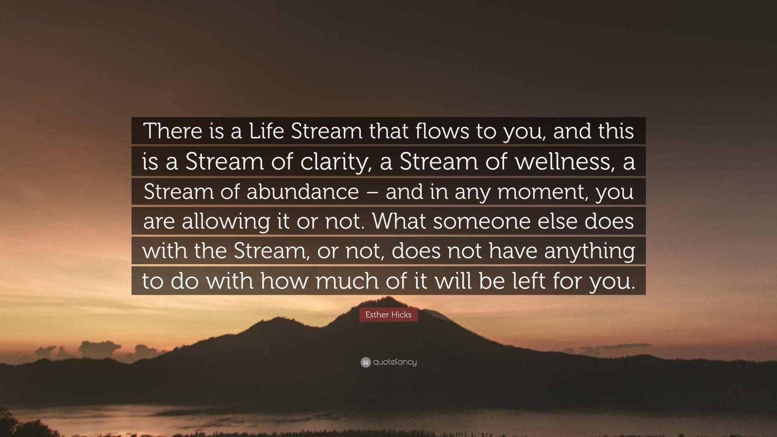 """Esther Hicks Quote: """"There is a Life Stream that flows to you, and this is a Stream of clarity, a Stream of wellness, a Stream of abundance – and in any moment, you are allowing it or not. What someone else does with the Stream, or not, does not have anything to do with how much of it will be left for you."""""""