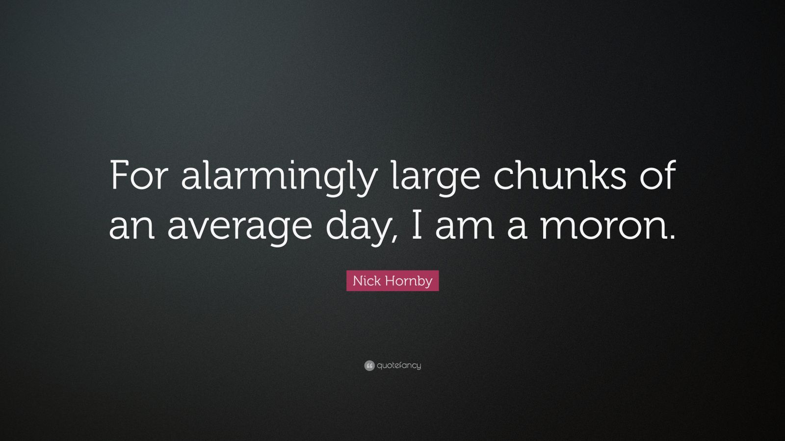 "Nick Hornby Quote: ""For alarmingly large chunks of an average day, I am a moron."""