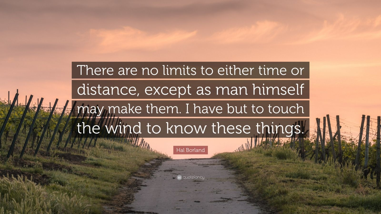 """Hal Borland Quote: """"There are no limits to either time or distance, except as man himself may make them. I have but to touch the wind to know these things."""""""